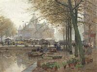 markt in amsterdam mit blick auf de waag by hans herrmann