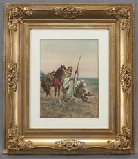 two horsemen in the desert, one cleaning his gun, the other sharpening his knife by giulio rosati