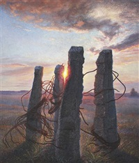 sunset -traces of civilization by nikolai alexeievich kasatkin