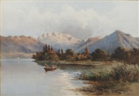 extensive landscape with lake and distant mountains (+ mountain landscape; 2 works) by angelos giallina
