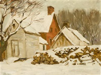 farmyard winter by horatio walker