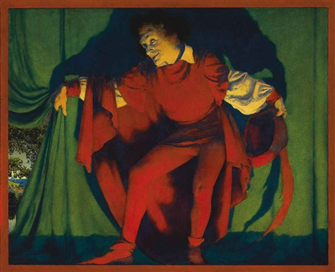 the manager draws the curtain by maxfield parrish
