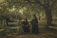 an afternoon in the garden by philip lodewijk jacob frederik sadée