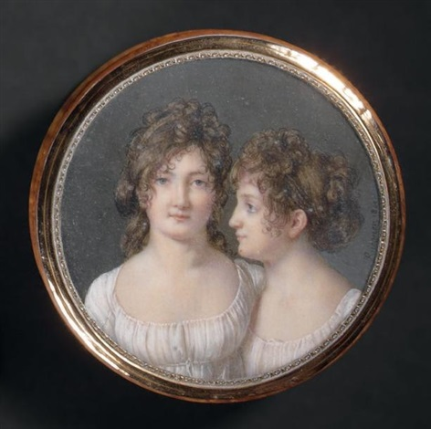 double portrait de jeunes filles, en robe de voile blanc, coiffées de boucles et chignons by henri françois riesener