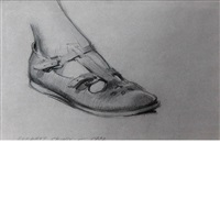 study of foot and sandal, florence scovel shinn; study of clenched hand (2 works) by everett shinn