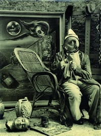 surrealistisches fotoporträt des surrealistischen malers robert schuppner, köln. 13. april by peter fischer