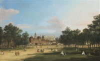 london, a view of the old horse guards and banqueting hall, whitehall seen from st. james' park by canaletto