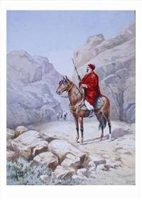 guerrier arabe dans une gorge by vittorio rappini