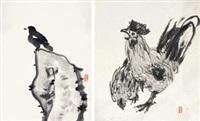 禽石图 鸡 (两幅) (2 works) by lei langliu