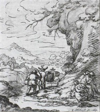 a mountainous landscape with peasants on a track in the   foreground by zacharias blyhooft