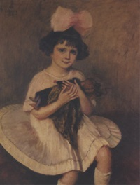 portrait of a young girl with pink ribbon by princesse marie eristoff-kasak