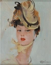 portrait au noeud jaune by jean-gabriel domergue