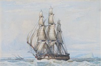 a large frigate under full sail beating across the bay at gibraltar, with spanish feluccas inshore and the rock receding astern by john ward of hull