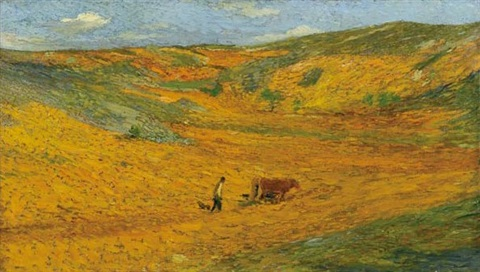 laboureur au fond dune combe by henri jean guillaume martin