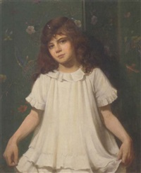 portrait of a girl in a white dress by walter bonner gash