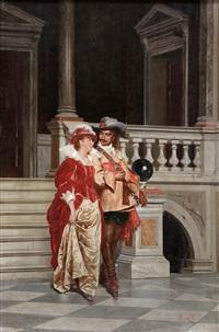 scena galante, ritratto in costume del pittore morgari con la moglie by adriano cecchi