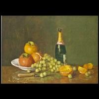 natura morta con bottiglia e frutta by ernesto alcide campestrini