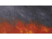 untitled (forest fire painting 95) (in 3 parts) by joe goode