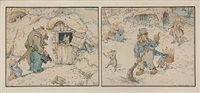 four animal scenes (4 works in 2 frames) by louis maria niels peder halling moe