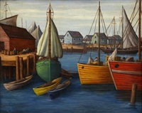 dock scene, gloucester by paul raphael meltsner
