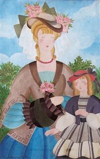 mère et fille au jardin by alice hohermann