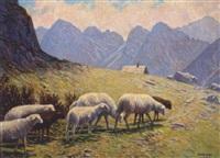 alm-heimkehrende schafe by bruno hess
