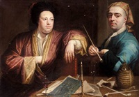 a candlelit scene of two gentlemen smoking by josef van aken