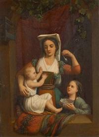 jeune romaine apprenant à faire des bulles à ses enfants by charles augustin wauters