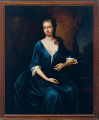 portrait of a lady wearing a blue dress, in a landscape by anglo-american school (18)