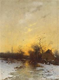 winterabend by heinz flockenhaus