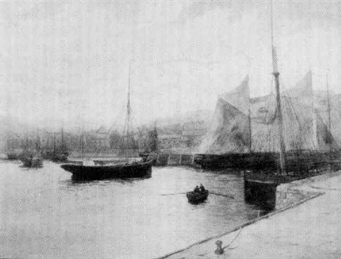 fishermen crossing a harbour at brixham, south devon by george oyston