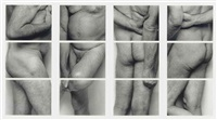 self portrait (frieze, no. 2, four panels)(in 12 parts mounted as 4) by john coplans