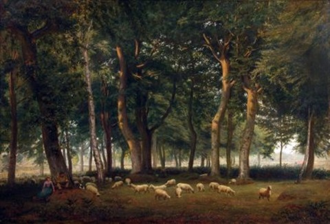 wooded landscape with shepherds resting with their sheep by g barwell