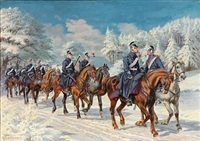 dragoons on horseback in a winter landscape by karl frederik christian hansen-reistrup
