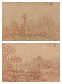 paysans en prières devant un calvaire, près d'une église en ruines; bergers en prière près d'une petite église (pair) by louis le sueur
