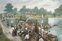 at boulter's lock, the thames regatta by herbert ward