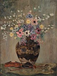 grand bouquet de fleurs au violon by valentine synave nicolaud (fray) val
