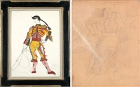 matador, bull fighter circo de espana; sketch for matador from back (2 works) by rico lebrun