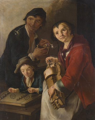 suonatrice di gironda ragazzo e giovane con brocca e pipa a woman playing a gironda a boy and a young man with jug and pipe by giacomo francesco cipper