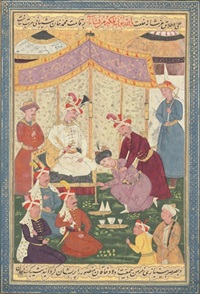 a son of sultan husayn being received by shah isma'il at khuy in 1508 by muin musavvir