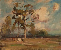 landscape with cattle by norman macgeorge