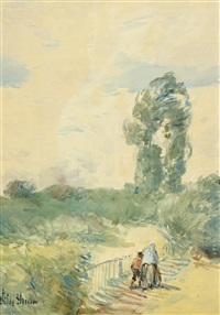 two figures in a landscape by childe hassam