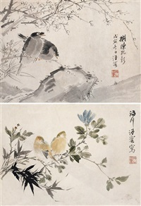 花鸟 (2 works) (flower and bird) by wang rong