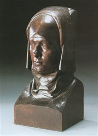 a bust of a woman wearing a wimple headress by alfred james oakley