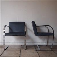 suite de 4 fauteuils, modèle brno by ludwig mies van der rohe