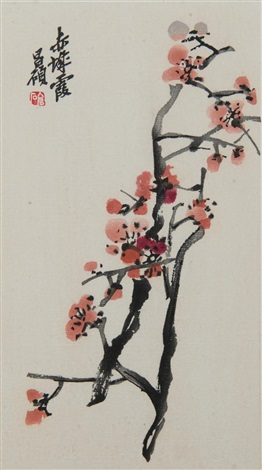 blossoms on branch album of 12 by wu changshuo