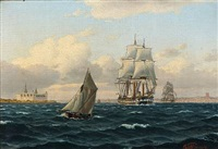 seascape with sailing ships out shore kronborg castle by carl emil baagöe