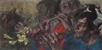 jóvenes jugando con flores by manuel monedero