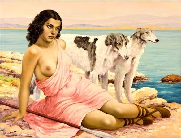 dívka s chrty by josef kamenitzky steiner