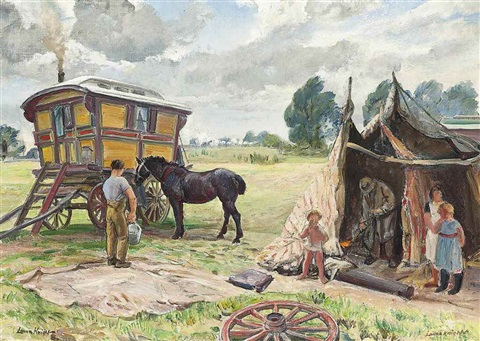 gypsy wagon and tent by dame laura knight & Gypsy wagon and tent by Dame Laura Knight on artnet